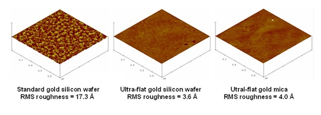 Ultra-flat gold silicon wafer/mica